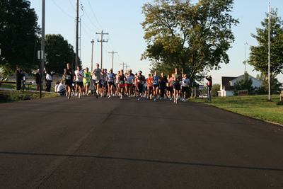 Runners start the 2010 small town BIG CAUSE 5K in Eudora.