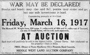 An advertisement for a farm auction on the Howard W. Wright farm 1 1/2 miles north of Milo and 4 1/2 miles east of Barnard. The 920 acres of land would be auctioned off into ten small farms by the Middle West Land Auction company from Salina. During the sale, a free noon meal would be served and entertainment provided.