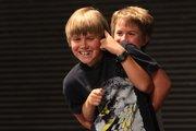 Teaming up for an improv class are Graham Edmonds, 11, front, and Calvin DeWitt, 11, at the Lawrence Arts Center, 940 N.H.