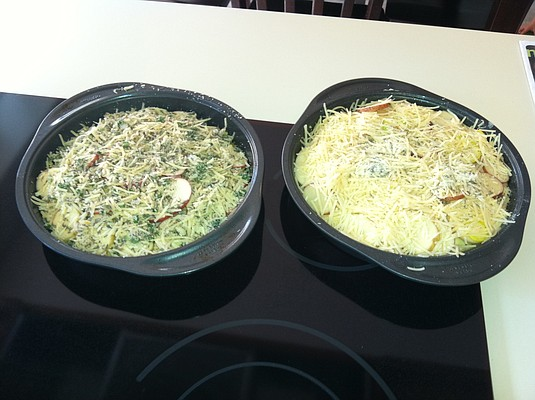 Herbed summer squash and potato torte.