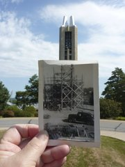The Campanile at Kansas University was dedicated in May of 1951 in honor of the military that died serving in World War II. My dad, Clem Zillner, was a carpenter who worked for Constant Construction Company at the time. This is a picture of the of the wooden scaffolding used to support the men working on the structure. It was taken looking north over Memorial Stadium at the back of Strong Hall. Photo by Joyce Halderman