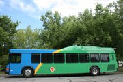 A new hybrid diesel-electric bus that is a new addition to the city's public transit fleet.