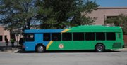 One of three new hybrid-diesel buses for Lawrence Transit was on a training run Thursday, August 11, 2011. The new eco-transit vehicles will be put in to service on bus route 11 on August 22.