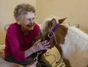 Lillian Voth was all smiles during a visit from Cindy, a 4-year-old miniature horse, Thursday at the Baldwin Healthcare and Rehab Center.