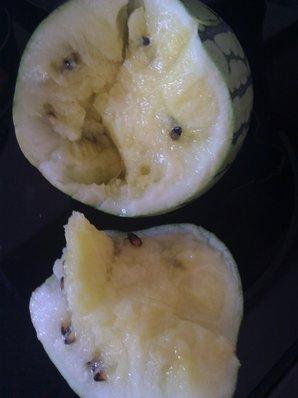 Broken yellow watermelon.