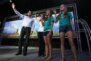 Republican presidential candidate and former Minnesota Governor Tim Pawlenty, his wife Mary, and daughters Anna and Mara wave to the crowd after he spoke at the Republican Party's Straw Poll in Ames, Iowa, Saturday, Aug. 13, 2011. Anna Pawlenty will be a freshman at KU this fall.