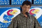 Kansas soccer head coach Mark Francis spoke to reporters Wednesday, Aug. 17, 2011, during KU fall sports media day.