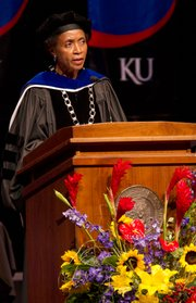 Kansas University chancellor Bernadette Gray-Little addresses students and other attendees during the 146th convocation Sunday, August 21, 2011 at the Lied Center.