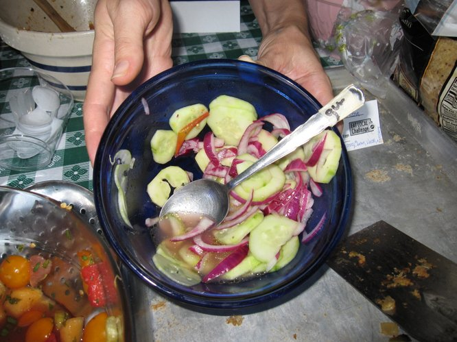 A recipe using cucumbers and red onions.