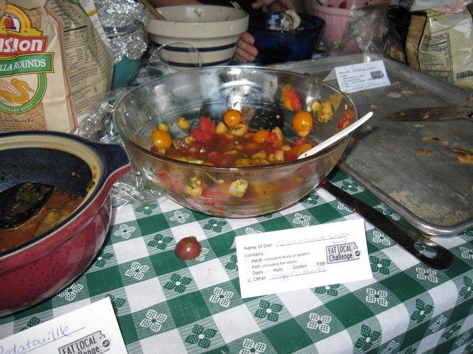 Salad using local tomatoes.
