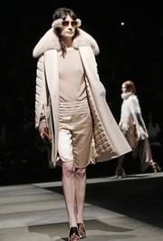 A model walks the runway at the Alexander Wang Fall 2011 show at Pier 94 on Feb. 12, 2011.