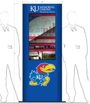 This rendering features an early design of one of six information kiosks planned for locations at the Kansas Union and at the Underground dining facility at Wescoe Hall. Mike Reid, director of public affairs for the KU Memorial Unions, said that the final product may not look exactly like this rendering, but it will likely be close.