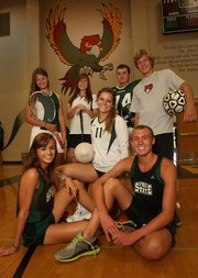 Some of the student-athletes expected to lead Free State during the fall season include, front row from left, Lynn Robinson and Kain Anderson, cross country; Mariah Dickson (11), volleyball; and back row, from left, Caitlyn Tilden, tennis; Madison Brumley, golf; Caylor Norris, football; and Zachary Thompson, soccer.