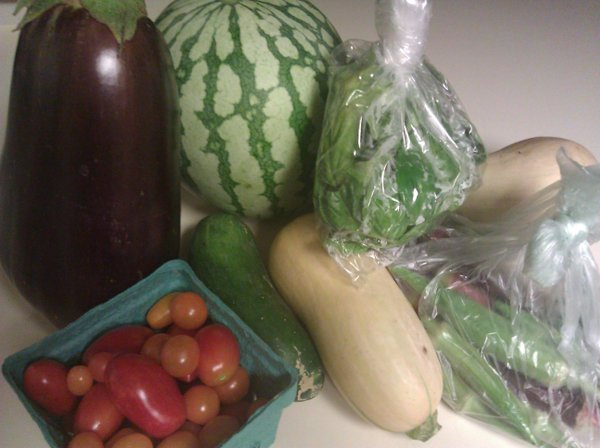 The bounty we picked up on Labor Day from our CSA.