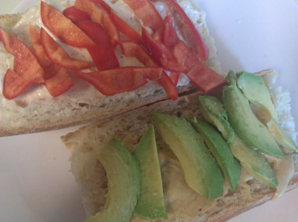 Local hummus and red pepper, plus Dijon and Wheatfield's bread makes for perfect sandwich goodness.