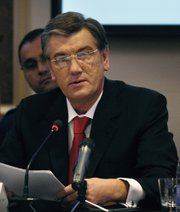 Ukrainian President Viktor Yushchenko opens the 12th annual meeting of the Southeast Europe Defense Ministerial in Kyiv, Ukraine, Oct. 22, 2007. Defense Dept. photo by Cherie A. Thurlby