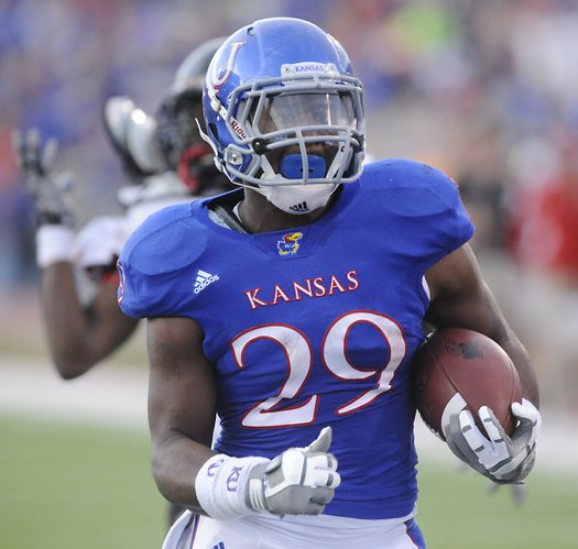 Kansas running back James Sims rushes against Northern Illinois on Saturday, Sept. 10, 2011 at Memorial Stadium.