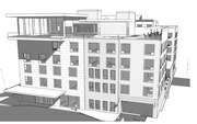 A southern view of a proposed hotel, apartment, retail building on the southeast corner of Ninth and New Hampshire streets
