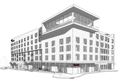 A southwest view of a proposed multi-story hotel, apartment and retail building on the southeast corner of Ninth and New Hampshire streets.