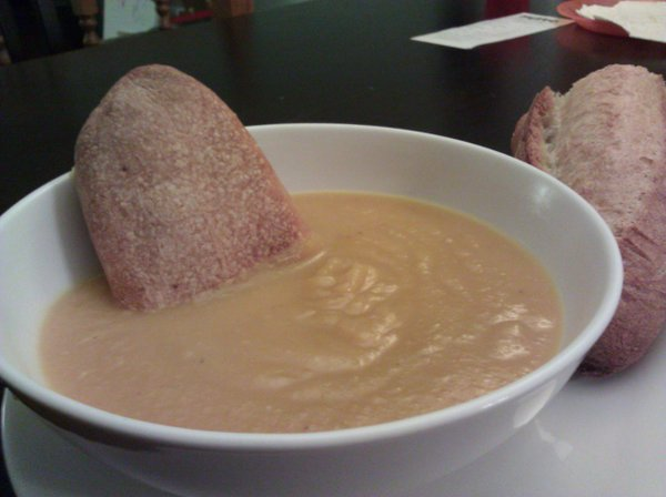 Isa Chandra Moskowitz's Butternut-Apple Soup with slices of Wheatfields' baguette.