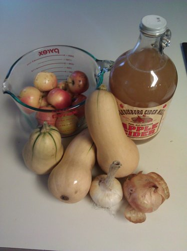 A plethora of local ingredients in our squash-apple soup: Louisburg apple cider, local apples, CSA squash, CSA garlic and a CSA onion.