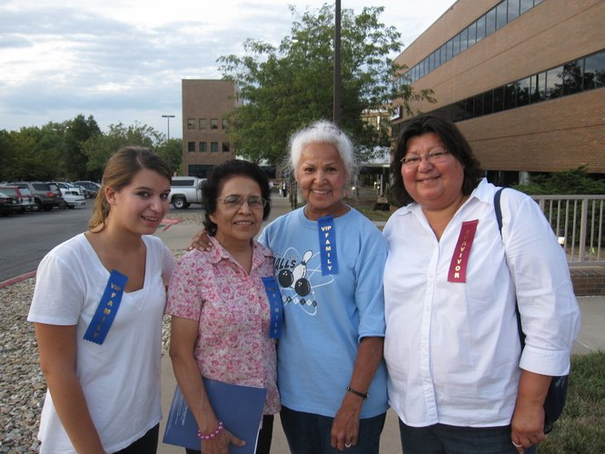 Judy Hoffman, right, is a breast cancer survivor and attended the 10th anniversary celebration of the Lawrence Memorial Oncology Center on Tuesday, Sept. 20, 2011. Also attending the celebration, from left, are her daughter, Kathryn Sevier, and friends Toni Pierce and Judy Pierce. Toni and Judy are sisters and their late mother had breast cancer.