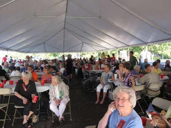 About 400 people attended a celebration at Lawrence Memorial Hospital to mark 10 years of oncology service. In foreground is Lawrence resident Doris Sullivant, one of the first cancer patients.