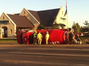 A Penny's Concrete truck was overturned near 31st and Iowa streets about 7:30 a.m. today.