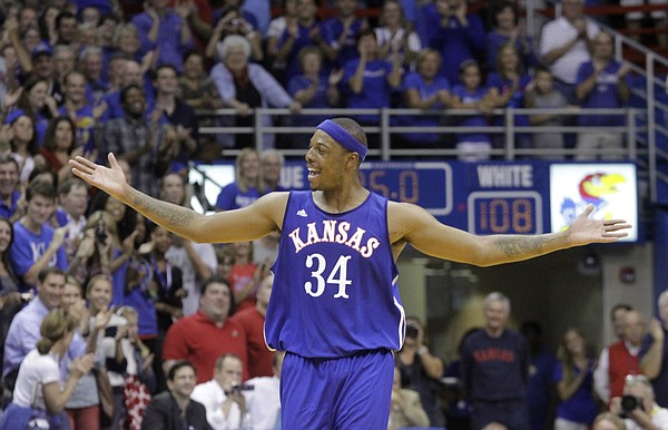 Paul Pierce soaks up the crowd's applause after hitting a three-point shot as the shot clock expires to give the blue team a 111-108 lead at the Legends of the Phog game Saturday, Sept. 24, 2011 at Allen Fieldhouse.