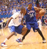 Darrell Arthur guards Paul Pierce at the Legends of the Phog alumni game Saturday, Sept. 24, 2011 at Allen Fieldhouse.