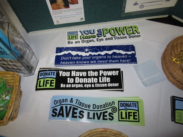 Midwest Transplant Network offered these stickers at the LMH health fair.