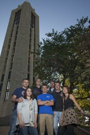 Many veterans coming back from Iraq or Afghanistan are choosing to go back to college to earn a degree instead of searching for a job in the down economy.  Some of those veterans attending KU are, front row from left,  Katherine Robinson, Andrew Foster, Kyle Brown and Sara Sneath; back row from left: Jake Robinson, Drew Beets and Stewart Melton.