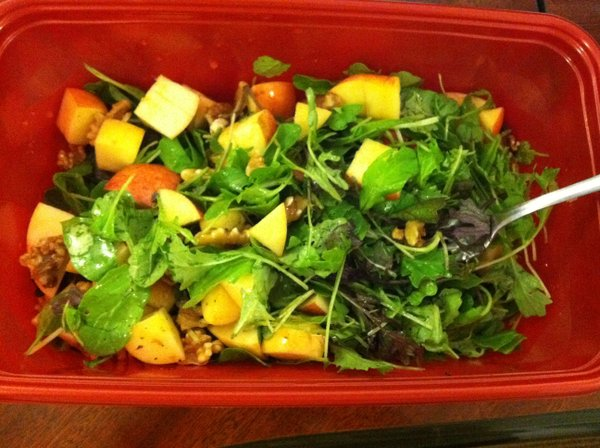 A salad of CSA salad mix, local apples and walnuts.