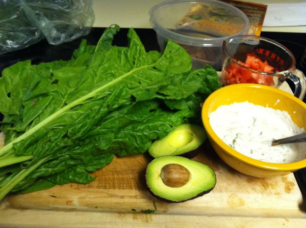 "Everything we need for wraps — CSA chard leaves, avocado, tomato, sauce and some ""eggplant bacon"" I made in my dehydrator."