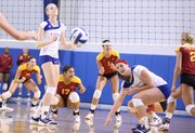 Kansas players Caroline Jarmoc, left, and Kara Wehrs react after losing the first set to Iowa State on Wednesday, Sept. 28, 2011 at the Horejsi Center.