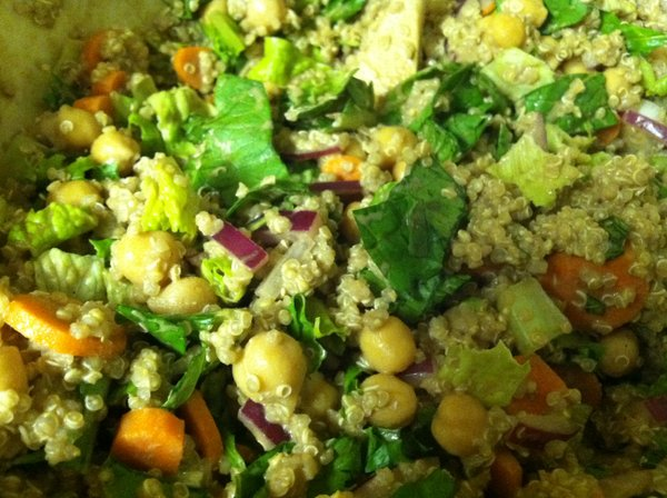 Quinoa salad with local basil.