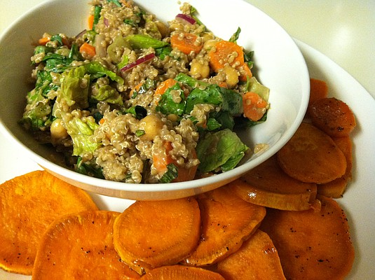 The quinoa salad with our favorite sweet potato medallions.