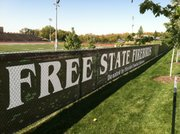 A new wind screen is in place at the stadium at Free State High School. As noted, the school's football boosters made the donation. Mike Hill, Free State's athletics director, estimated that it had cost a few thousand dollars.