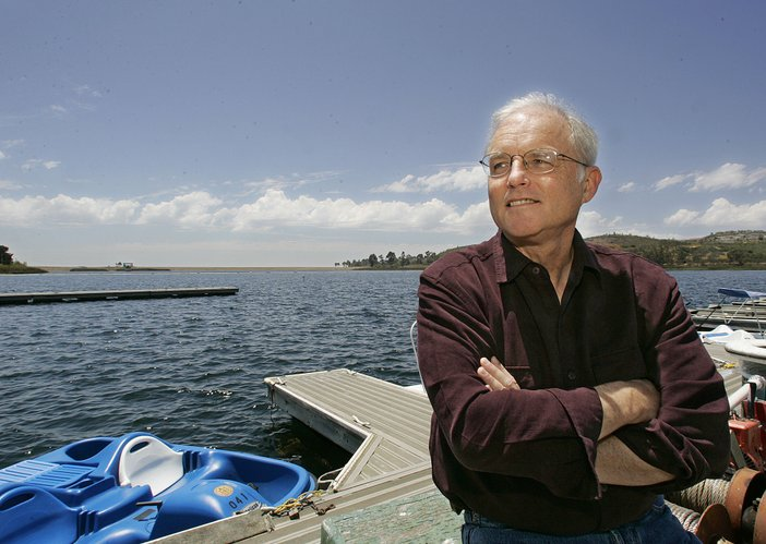 Author Richard Louv poses on the dock at the Miramar Reservoir in San Diego Monday June 27, 2005.