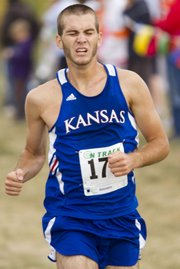 Kansas runner Brendan Soucie pushes as he nears the finish line during Haskell Invitational held Saturday, Oct 8, 2011 at HINU. Soucie was the first Kansas runner to cross the finish line in the college men's 8k race and finished fourth overall.