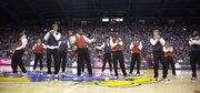 The Kansas Jayhawks come together at center court for a team dance during Late Night in the Phog on Friday, Oct. 14, 2011 at Allen Fieldhouse.