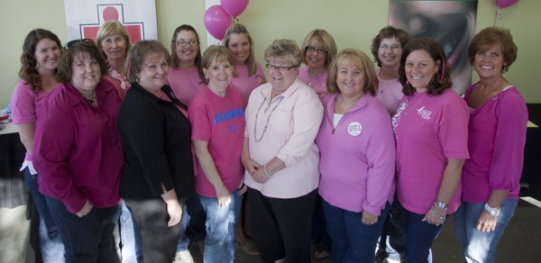 The Pink Ladies are, back row from left, Megan Gentry, Lynn Saunders, Becky Saathoff, Renae Walters, Ann Pearson, Cathy Gilges and Jeanne Nottingham. Front row from left: Mindy Aguilar, Jan Hornberger, Susan Case, Carol Taul, Debbie Guenther and Sheryl Saathoff.