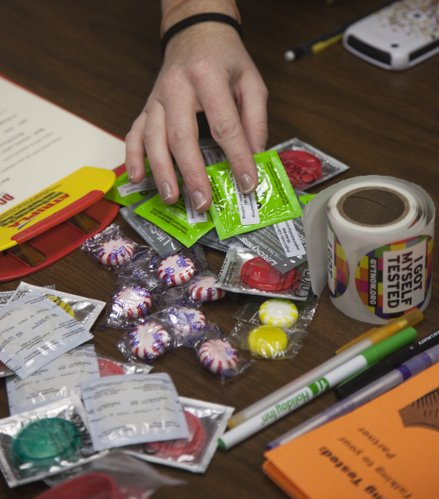 Kevin Anderson/Journal-World Photo.An HIV clinic was held Wednesday, Oct. 19, 2011, at the Kansas Union. Candy and condoms were on hand to give away to those who got tested.