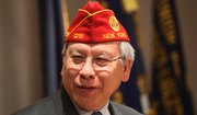 American Legion Commander Fang Wong, National American Legion Commander, speaks in Lawrence on Thursday to veterans and Legion members at Dorsey-Liberty Post No. 14.
