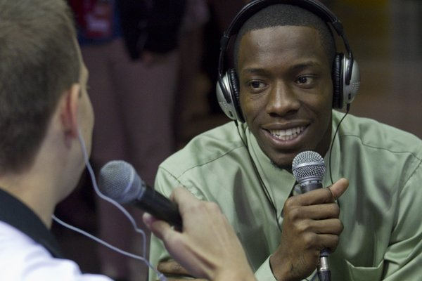 Tyshawn Taylor was live on 610 sports radio with Danny Parkins on Thursday, Oct. 20, 2011, at the Big 12 men's basketball media day at the Sprint Center.