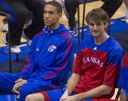 Hopeful Kansas basketball walk-on Anthony West, left, next to Jeff Withey, was introduced during Ladies Night Out with Bill Self on Thursday, Oct. 27, 2011, at Allen Fieldhouse.