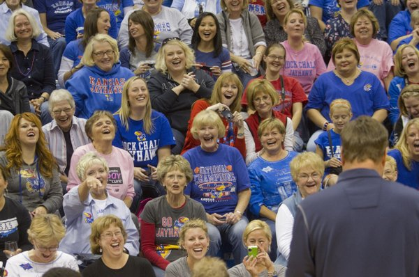 "A crowd of women enjoy ""Ladies Night Out with Bill Self""  in Allen Fieldhouse, Thursday evening, Oct. 27, 2011. Women got the opportunity to run drills and receive one-on-one training from the KU coaching Staff. The second annual event was a fundraiser for Jayhawks for a Cure, which supports cancer treatment and research at the KU Cancer Center and Lawrence Memorial Hospital."