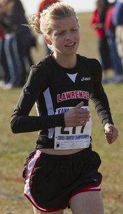 Lawrence Highs Grace Morgan nears the finish line at the Kansas 6A state cross country meet Saturday, Oct. 29, 2011 at Rim Rock Farm. Morgan finished 36th overall with a time of 16:13.60.