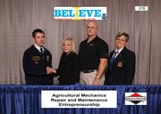 Pictured, from left to right, are Stuart Wakeman, of the Lawrence Free State FFA; Maggie Turek, marketing manager and Darrell Sickels, engineering manager, of Hobart Welding Products; and Anita Schneider, of National FFA Alumni and representing Briggs and Stratton Corporation Foundation Inc.