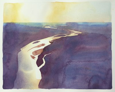 """Into the Sun – Kaw River"" watercolor on paper by local artist and FOK board member Lisa Grossman. Each year Lisa donates one of her Kansas River paintings to the FOK silent auction. This particular watercolor is 8x10"" and will be available for bidding during this year's event."